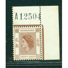 1954 QEII 20c REQ NUMBER TONED SPOT